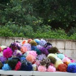 Yarn bombing at Civic Park Newcastle for Summer Art Bazaar