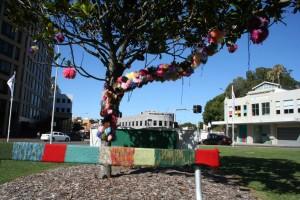 Yarn bombing at Civic Park Newcastle for Summer Art Bazaar