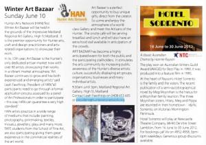 Winter Art Bazaar editorial in Monthly imag May 2012
