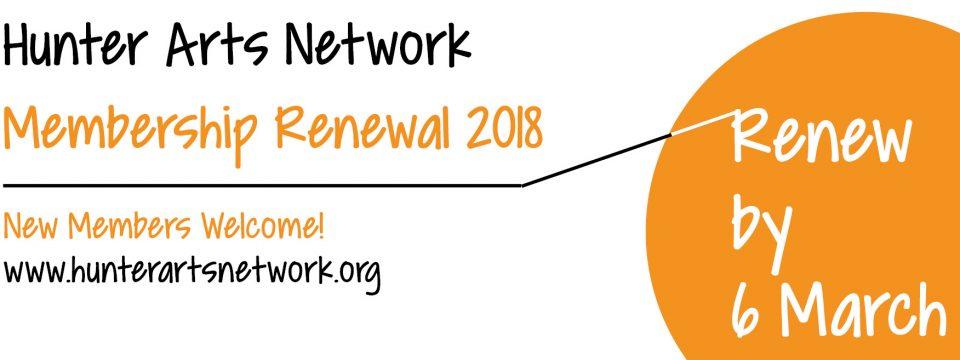 JOIN OR RENEW – HUNTER ARTS NETWORK 2018 MEMBERSHIP