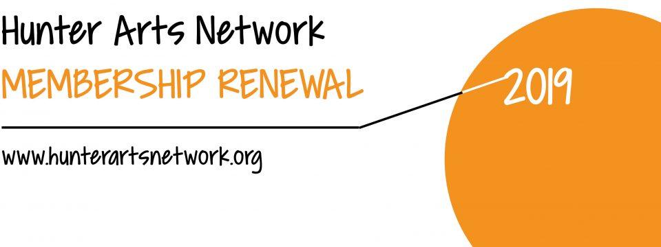 Hunter Arts Network membership renewal 2019